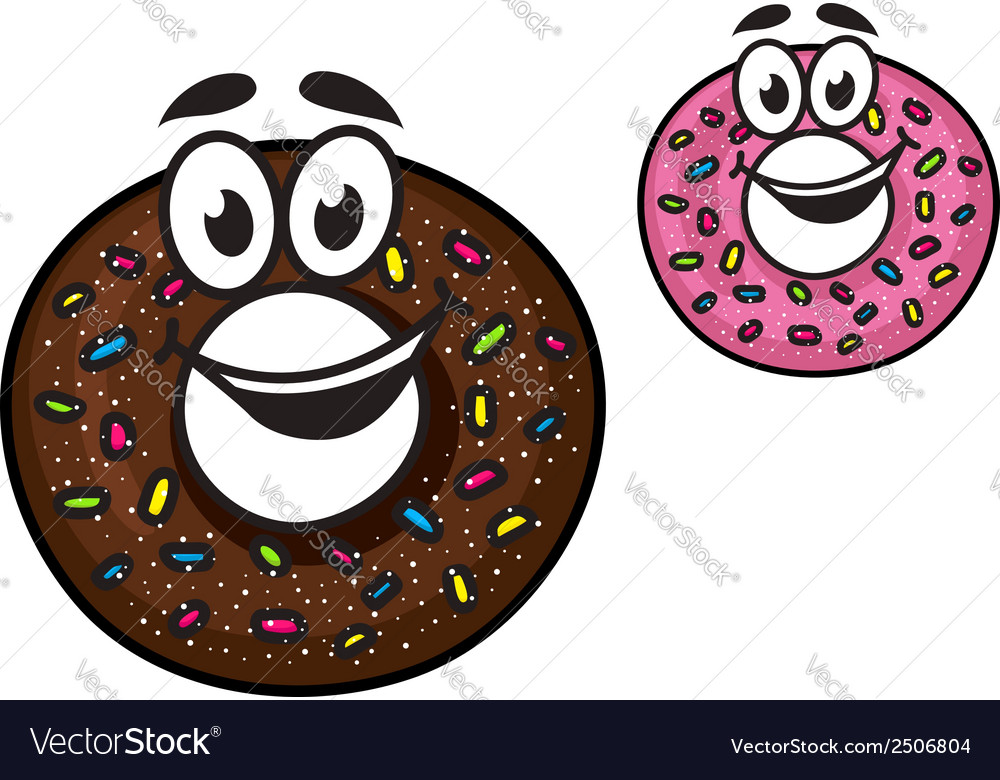 Cute happy doughnuts vector | Price: 1 Credit (USD $1)