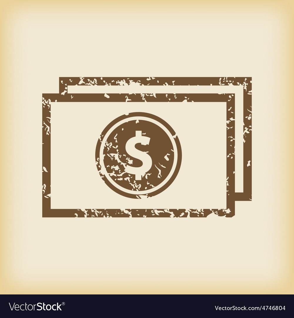 Grungy dollar bill icon vector | Price: 1 Credit (USD $1)