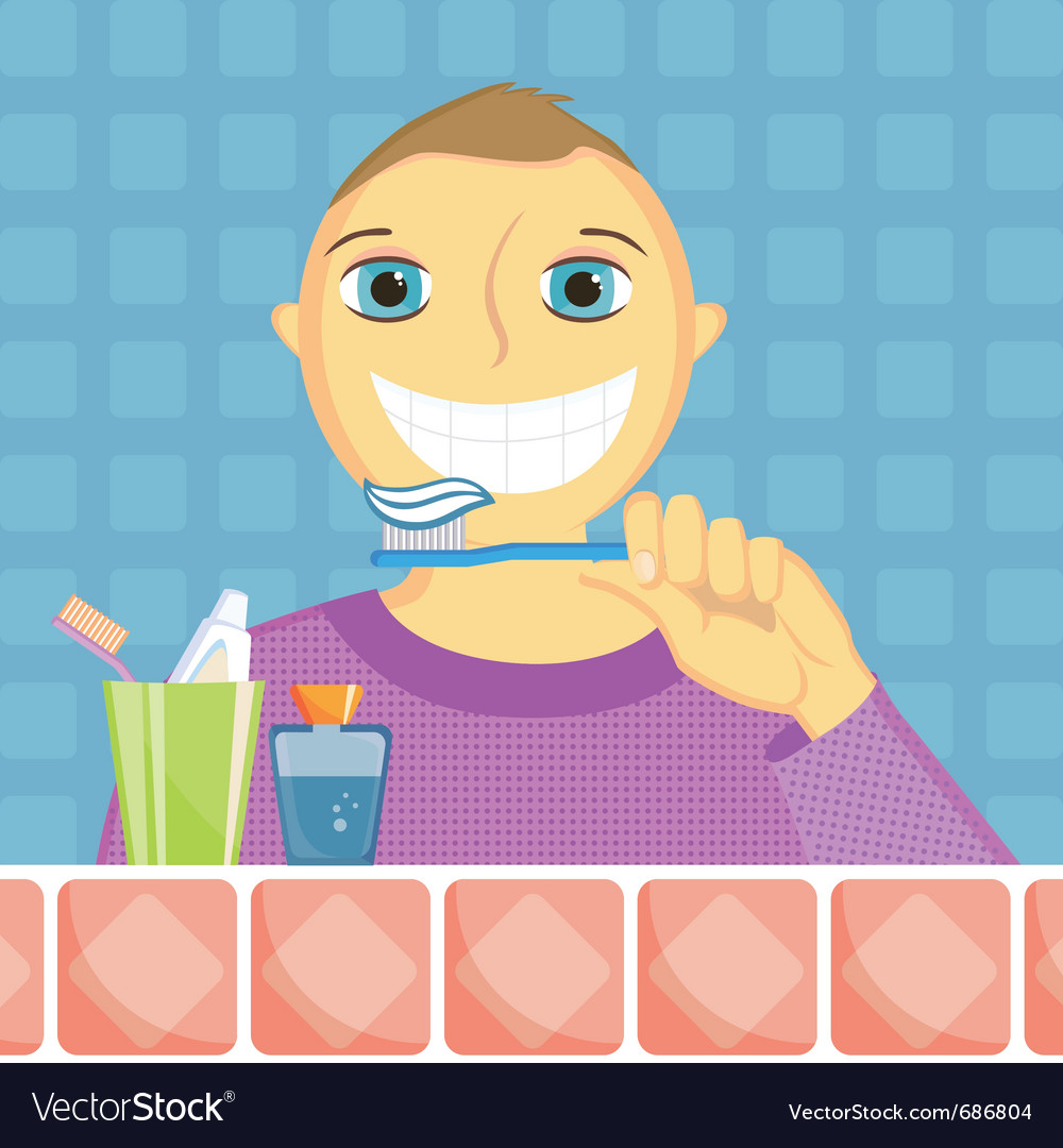 Kid cleans a teeth vector | Price: 3 Credit (USD $3)