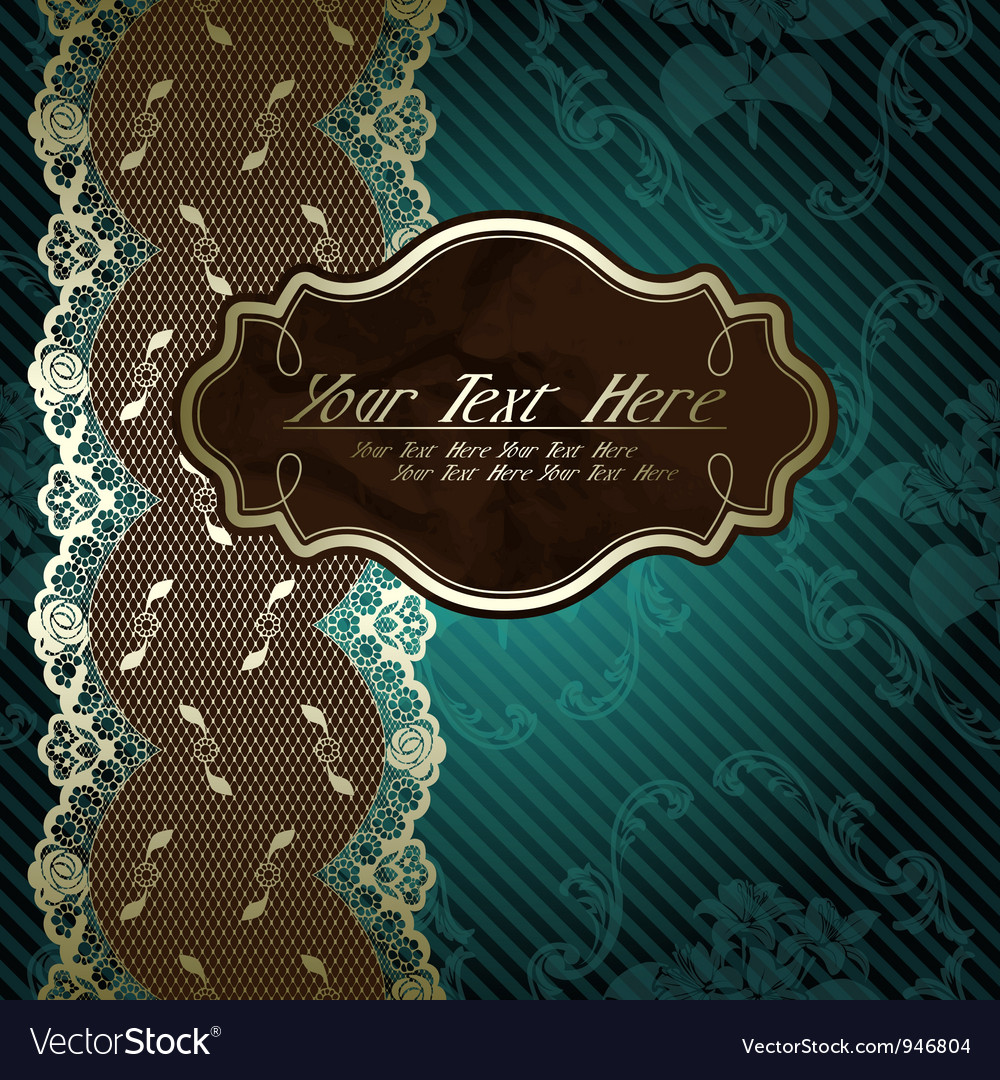 Lacy design with brown label on dark green vector | Price: 1 Credit (USD $1)