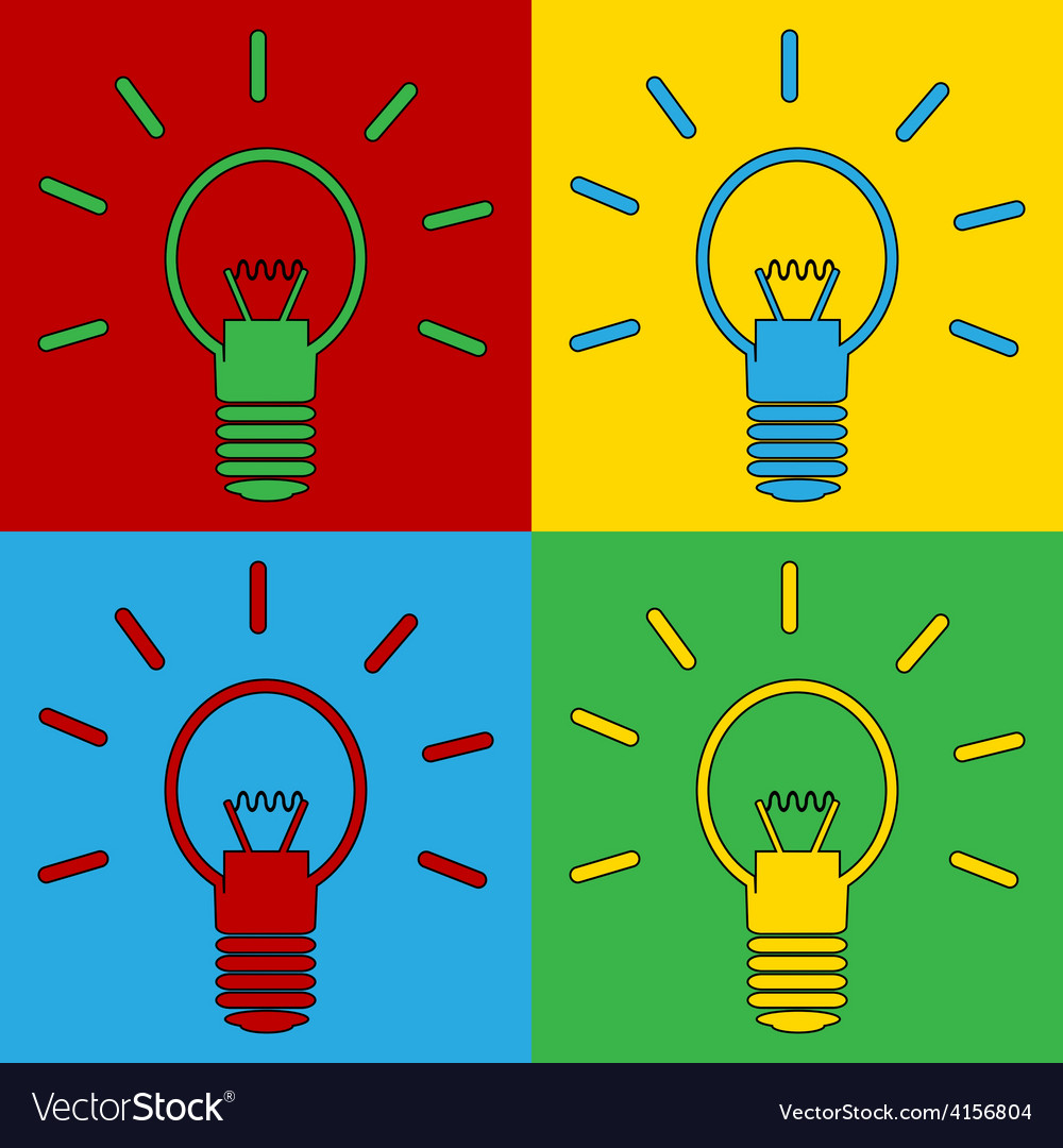 Pop art light bulb icons vector | Price: 1 Credit (USD $1)