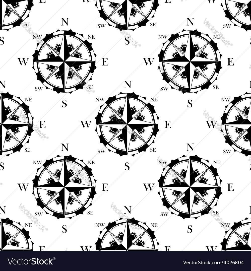 Retro nautical compasses seamless pattern vector | Price: 1 Credit (USD $1)