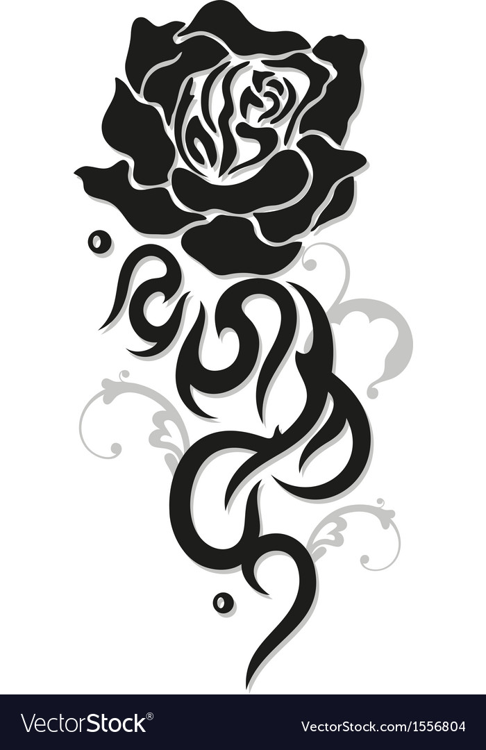 Rose tribal style vector | Price: 1 Credit (USD $1)