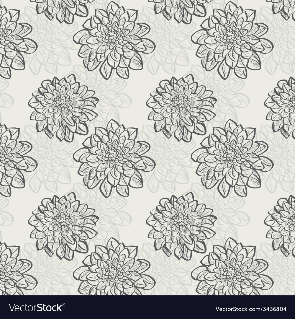 Seamless pattern with dahlias vector | Price: 1 Credit (USD $1)