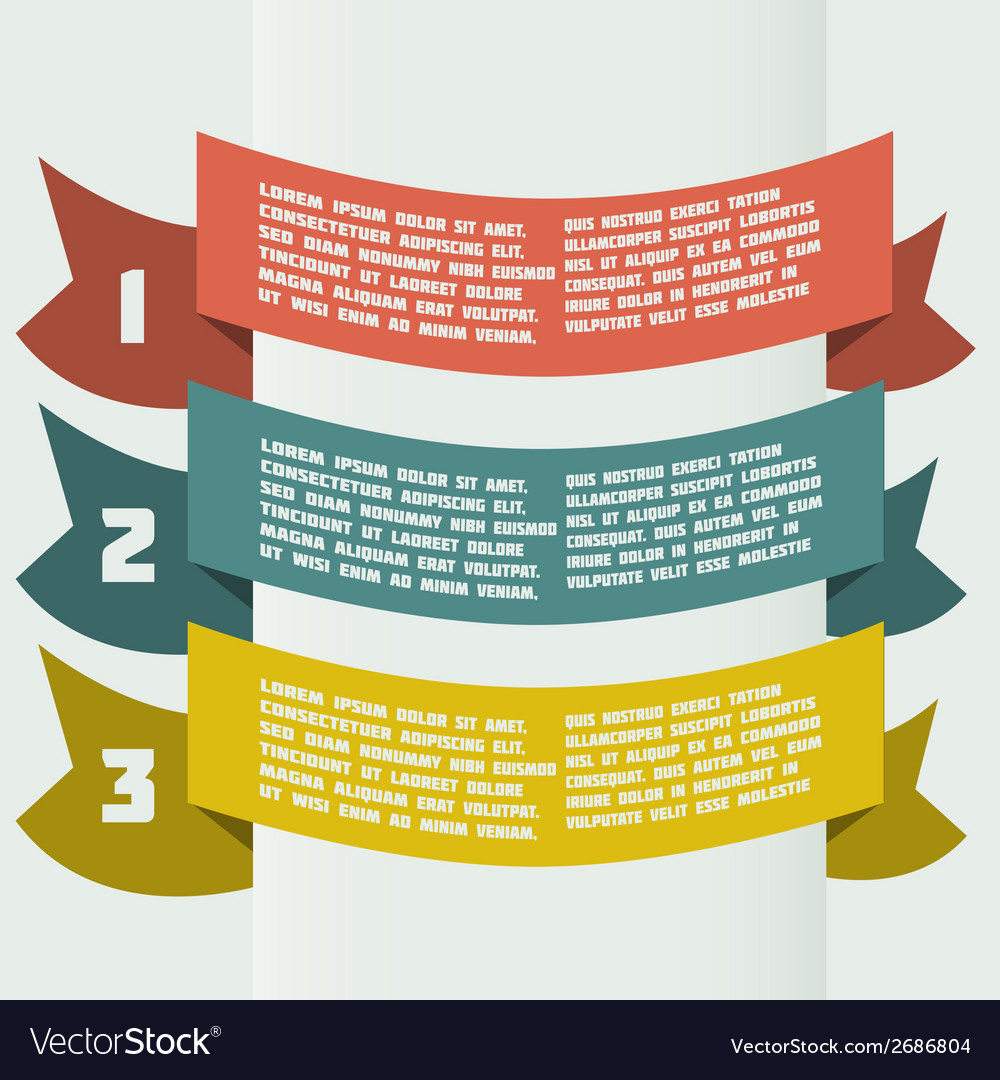 Simple color infographics with bent banners vector | Price: 1 Credit (USD $1)