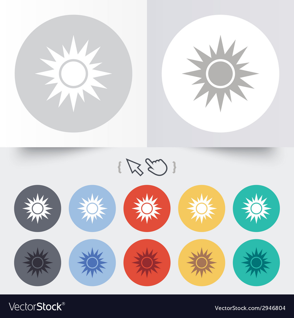 Sun sign icon solarium symbol heat button vector | Price: 1 Credit (USD $1)