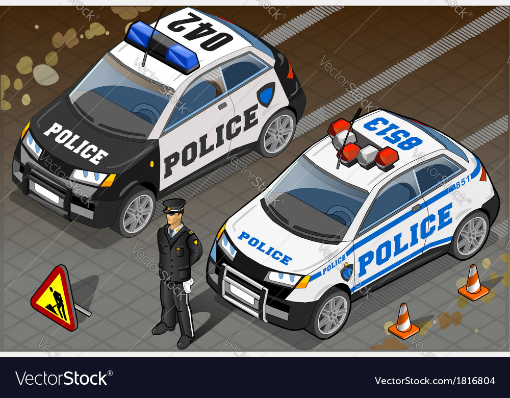 Two isometric police car in front view vector | Price: 1 Credit (USD $1)