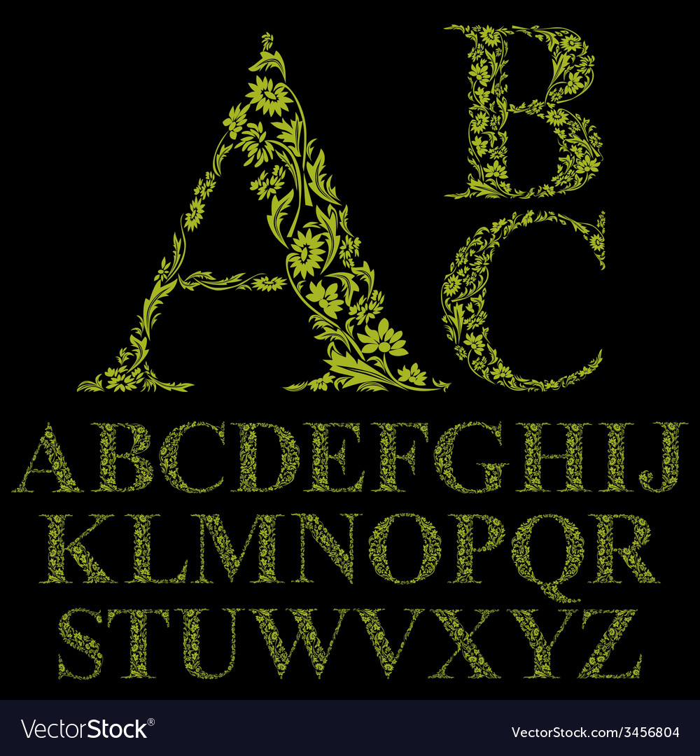 Vintage style floral letters font alphabet vector