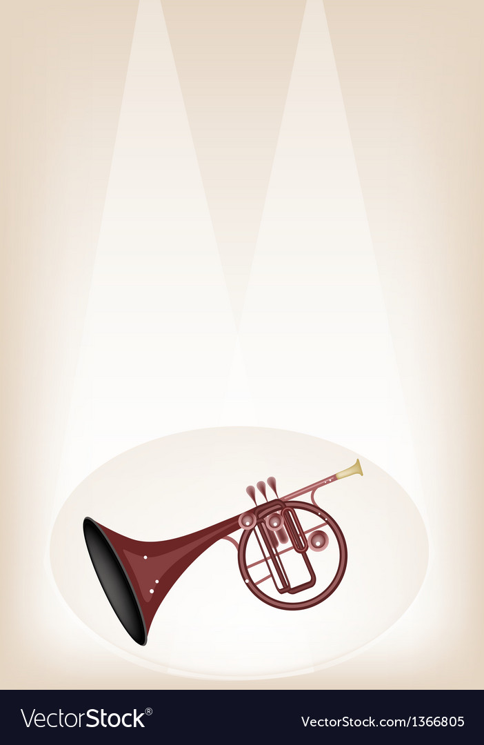 A musical straight mellophone on stage background vector | Price: 1 Credit (USD $1)