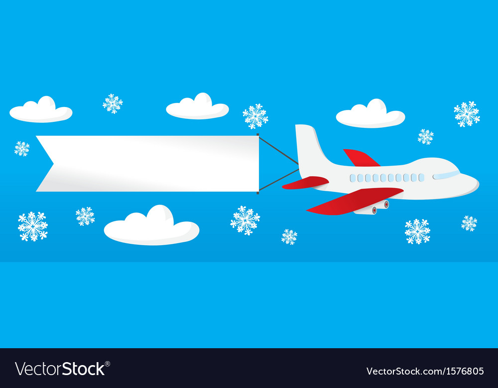 Airplane with banners in the sky vector | Price: 1 Credit (USD $1)
