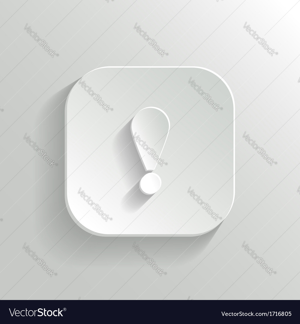 Attention icon - white app button vector | Price: 1 Credit (USD $1)