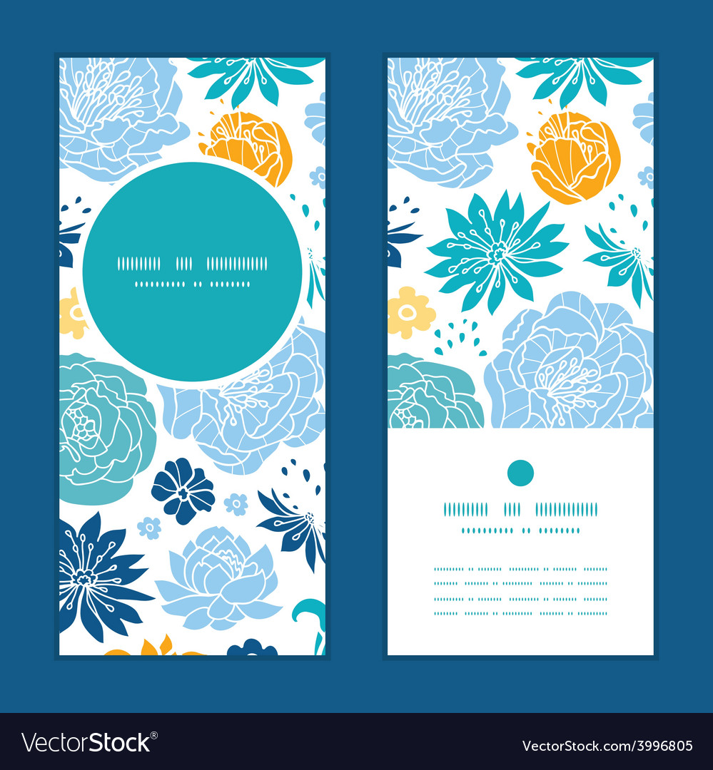 Blue and yellow flowersilhouettes vertical vector | Price: 1 Credit (USD $1)