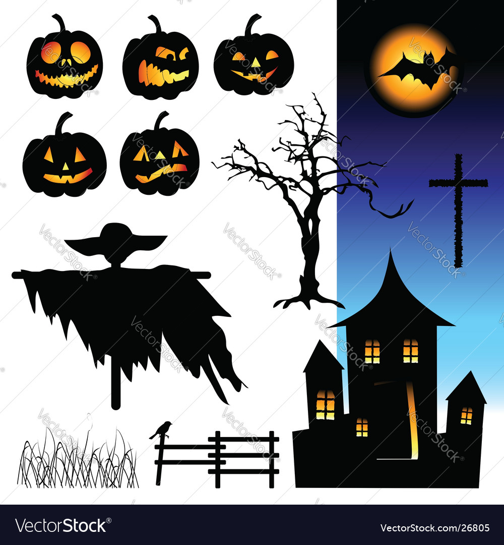 Halloween design elements vector | Price: 1 Credit (USD $1)