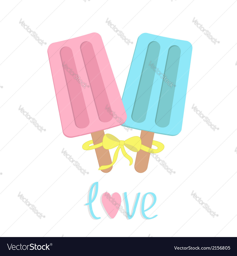 Ice cream with bow on sticks love card vector | Price: 1 Credit (USD $1)