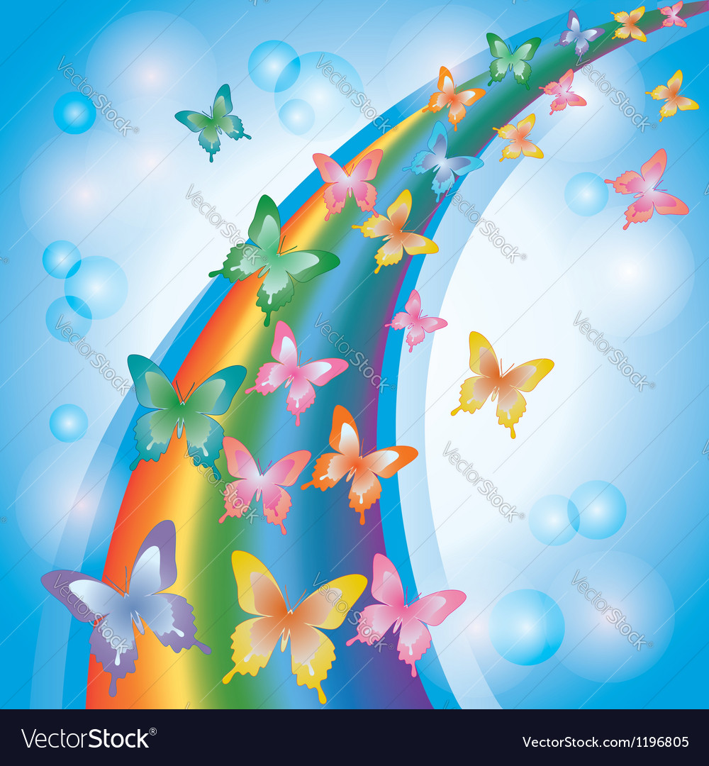 Light colorful background with butterflies rainbow vector | Price: 1 Credit (USD $1)