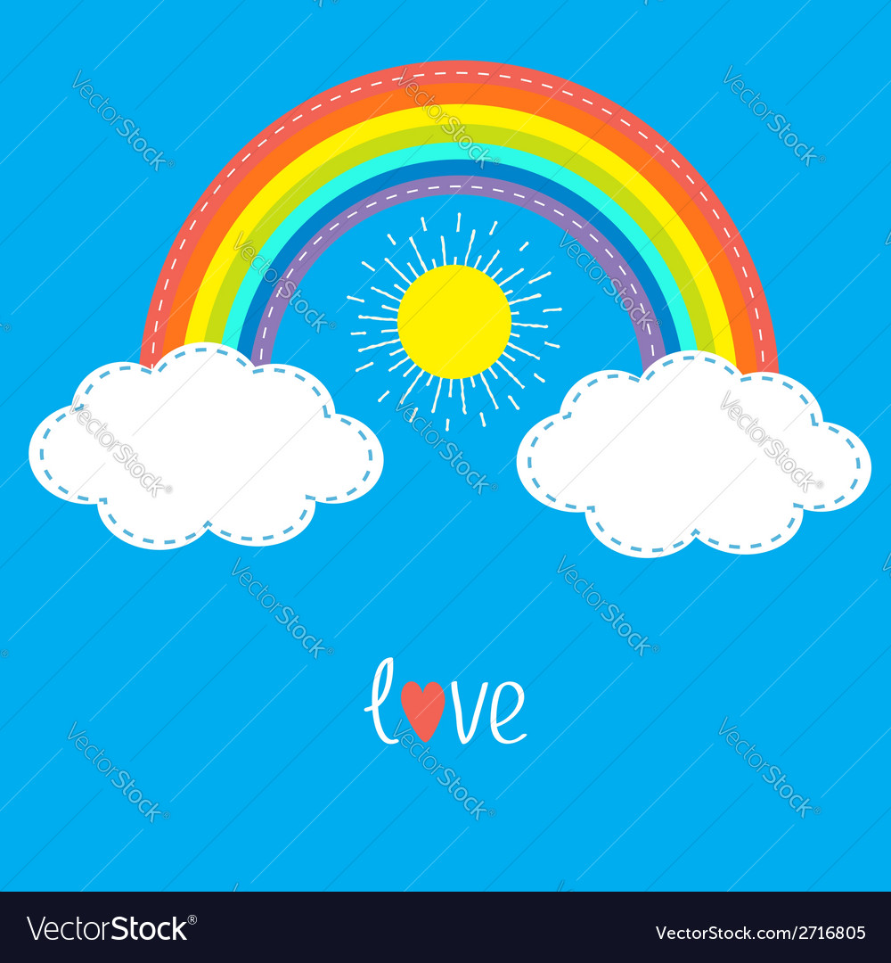 Rainbow clouds and sun dash line love card flat vector | Price: 1 Credit (USD $1)