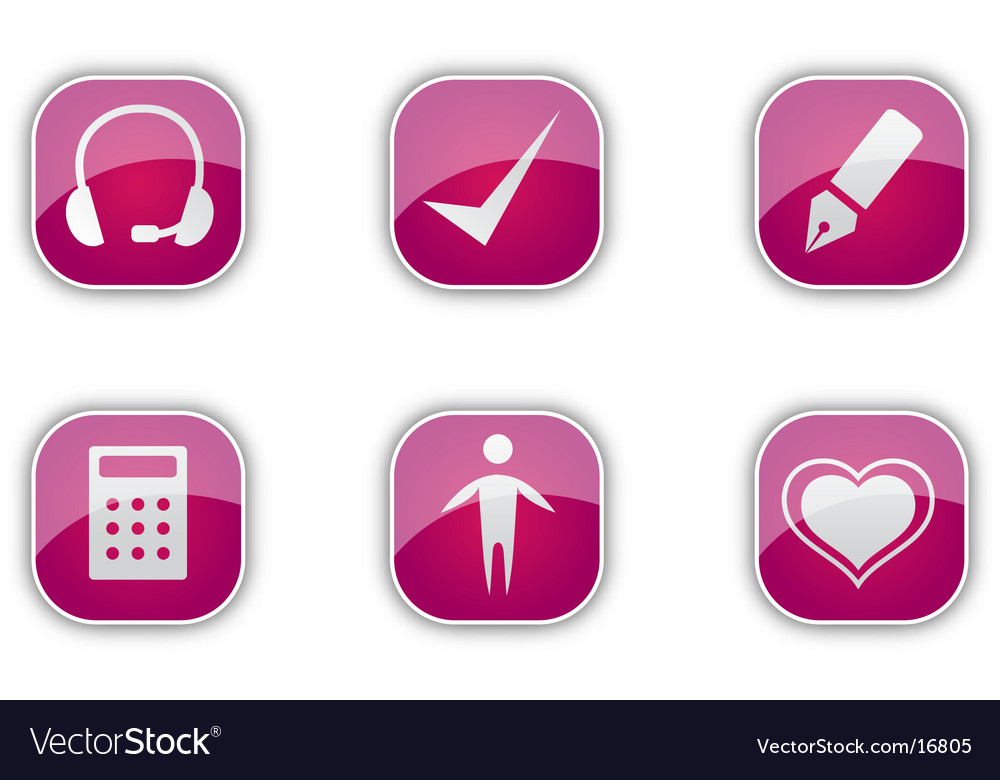 Red icon set vector | Price: 1 Credit (USD $1)