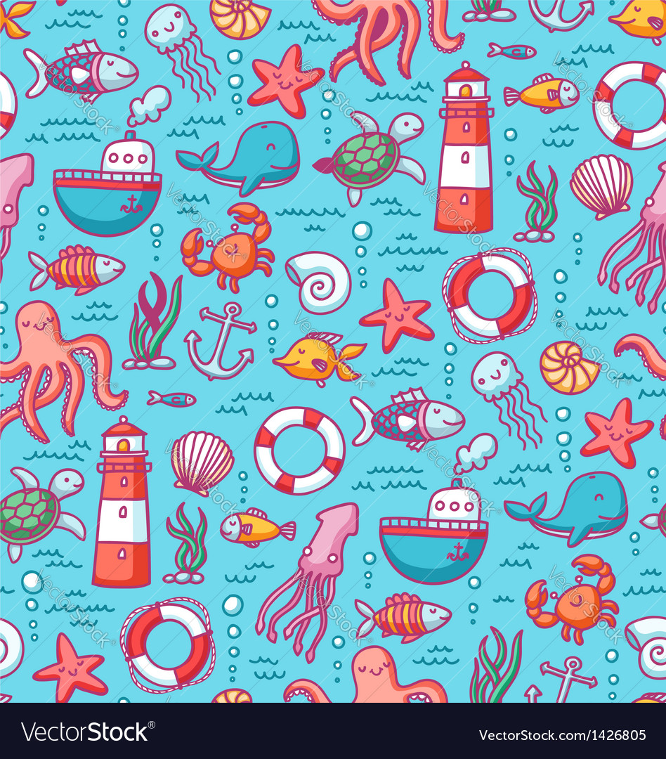 Sea doodles color pattern vector | Price: 3 Credit (USD $3)