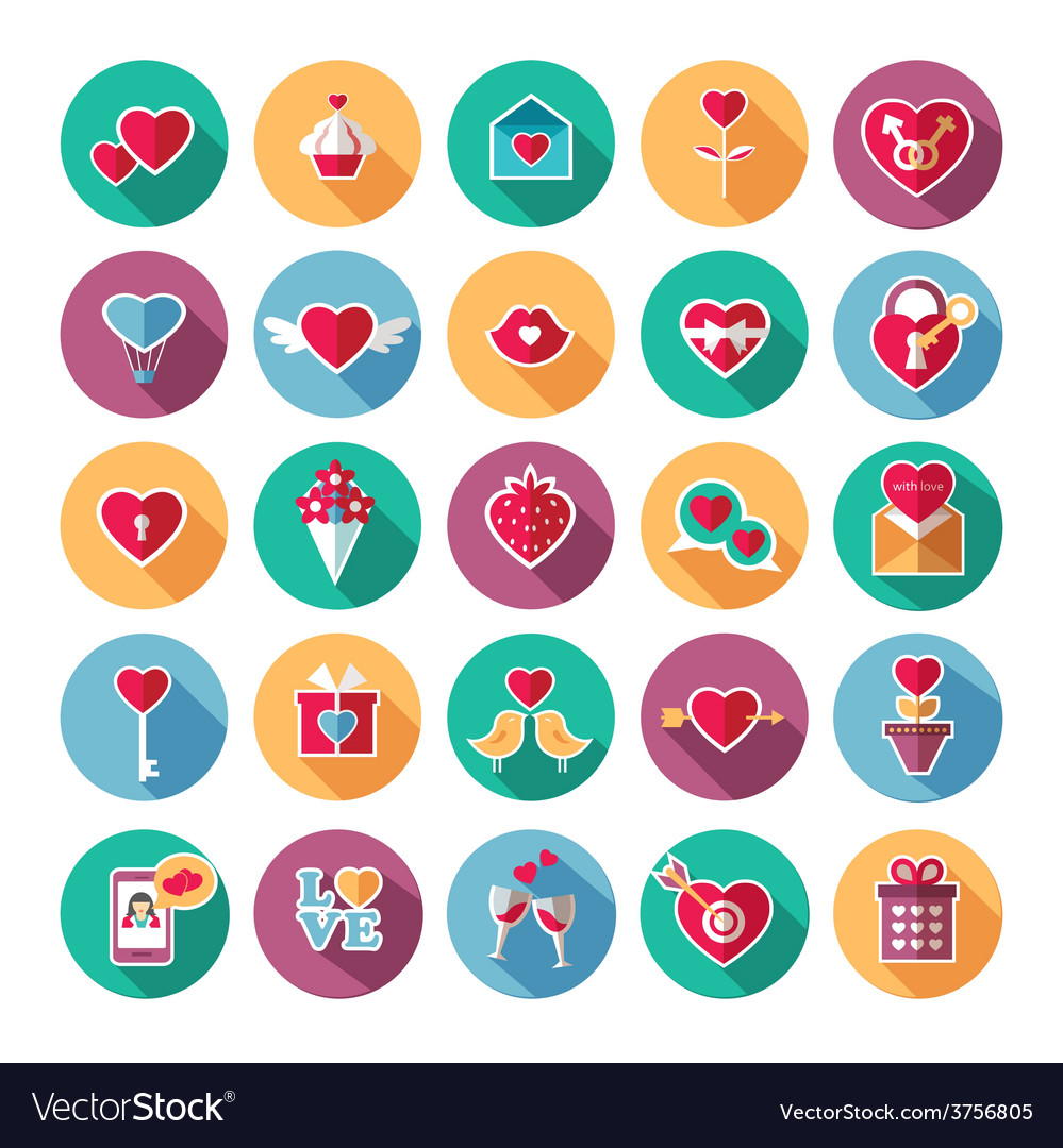 Set of flat valentines day icons vector | Price: 1 Credit (USD $1)