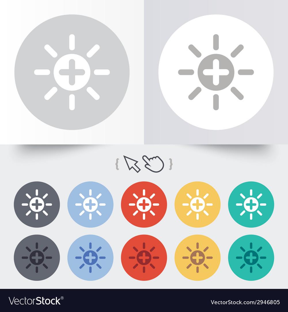 Sun plus sign icon heat symbol brightness vector | Price: 1 Credit (USD $1)
