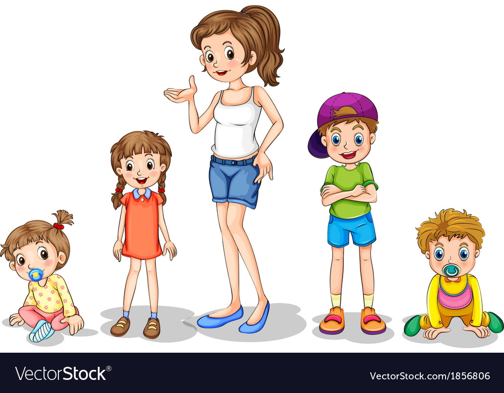 A mother with her four kids vector | Price: 3 Credit (USD $3)