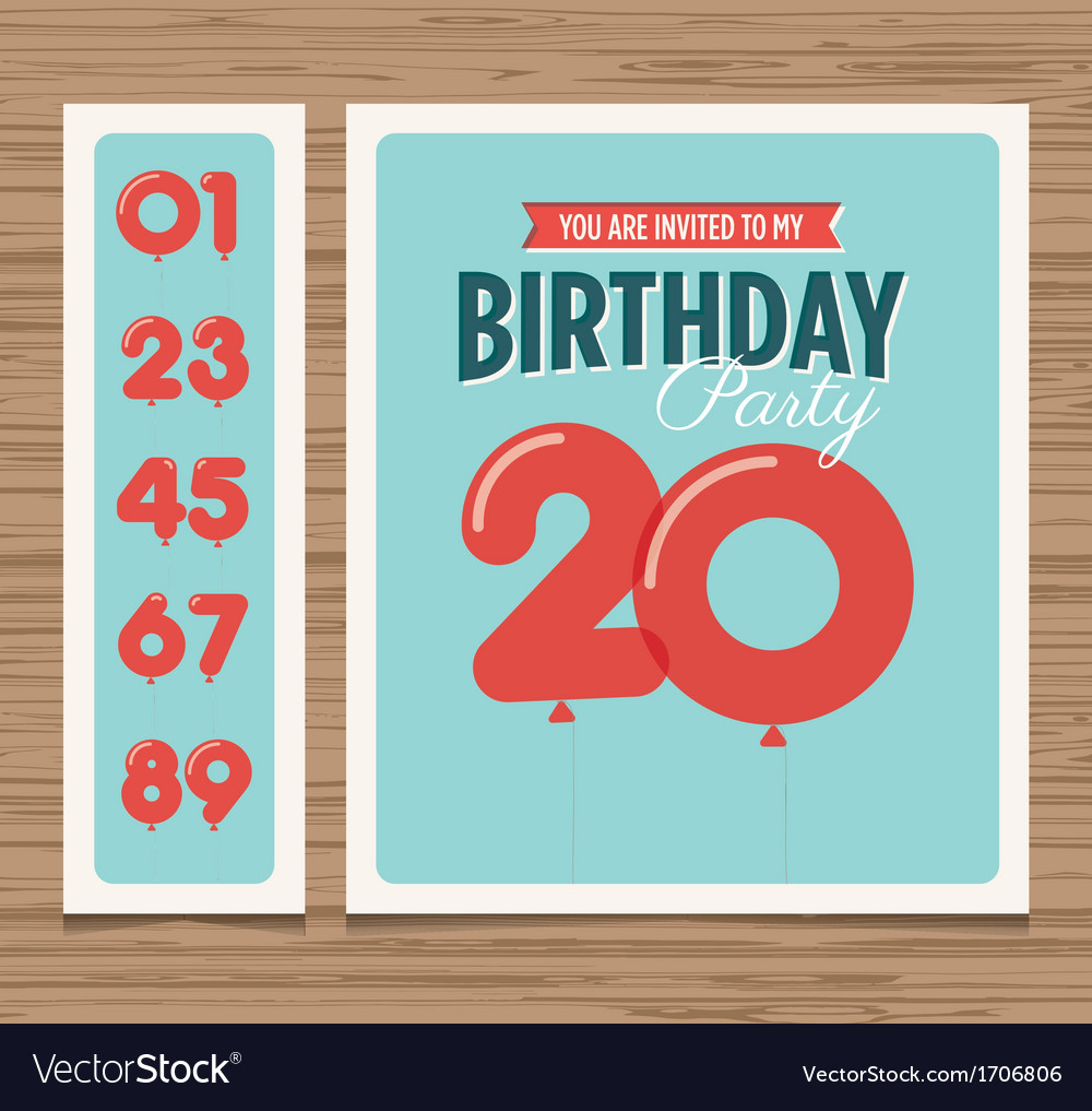 Birthday card balloons numbers vector | Price: 1 Credit (USD $1)