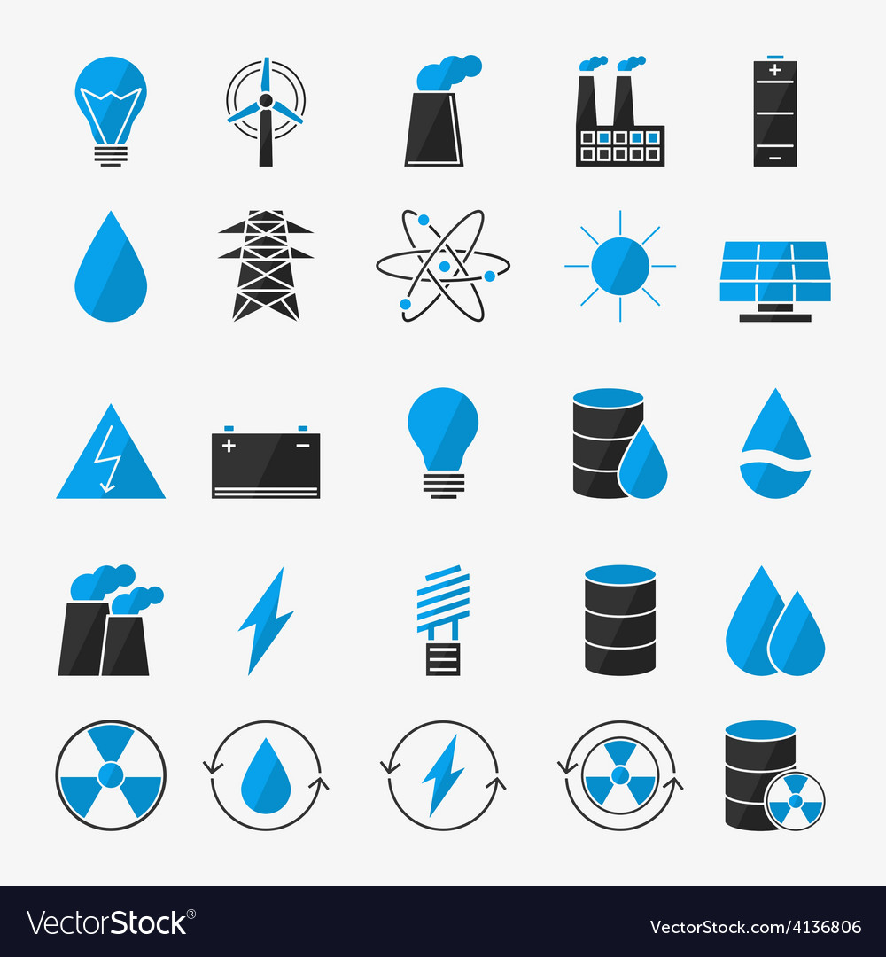 Energy or electricity icon set vector | Price: 1 Credit (USD $1)