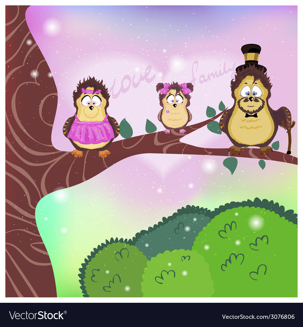 Family mom dad daughter on a branch vector | Price: 1 Credit (USD $1)