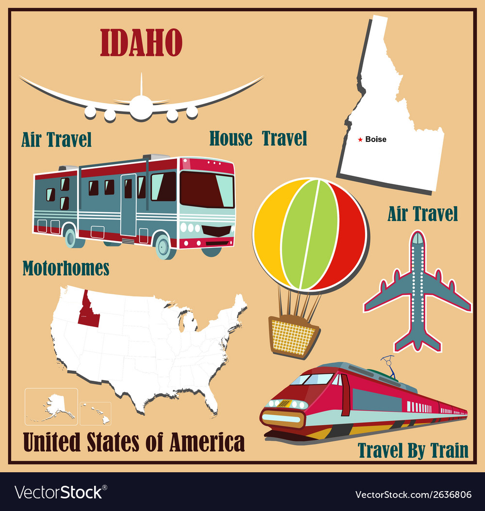 Flat map of idaho vector | Price: 1 Credit (USD $1)