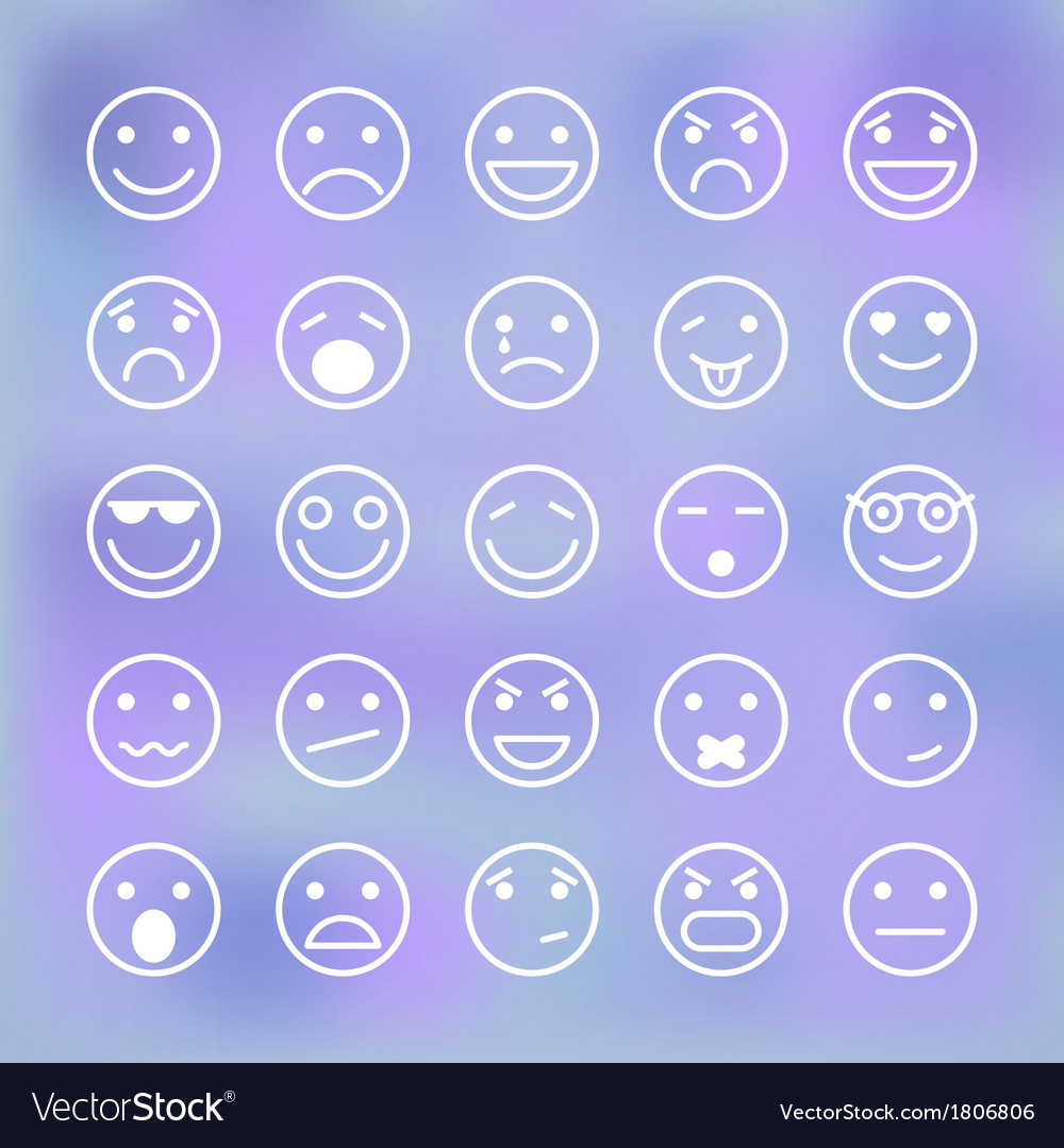 Icons set of smiley faces for mobile application vector   Price: 1 Credit (USD $1)