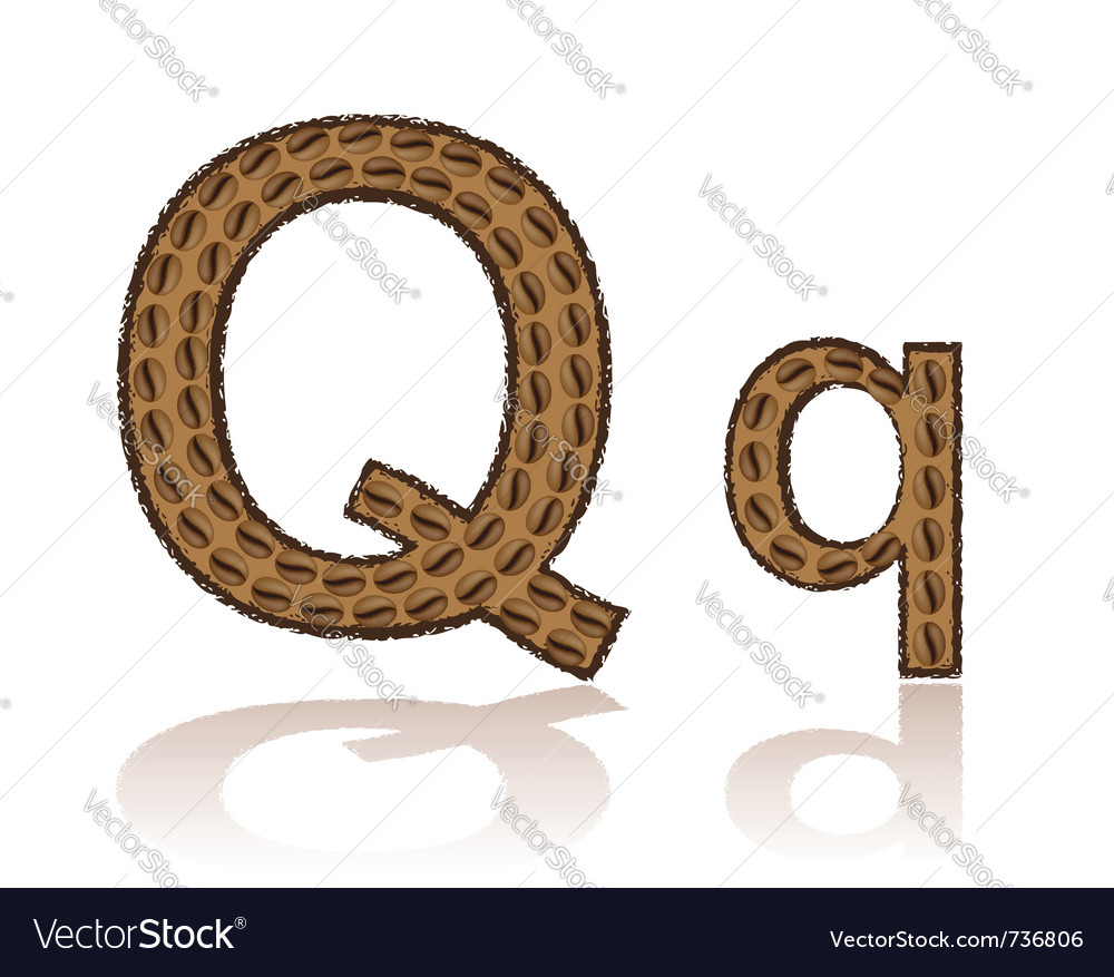 Letter q is made grains of coffee isolated on whit vector | Price: 1 Credit (USD $1)