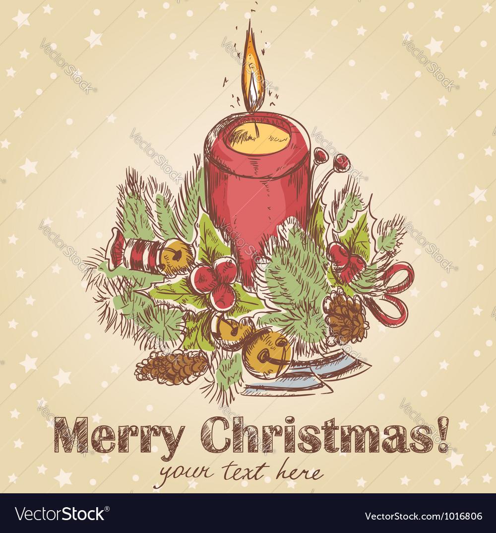 Ornate christmas hand drawn retro postcard vector | Price: 1 Credit (USD $1)