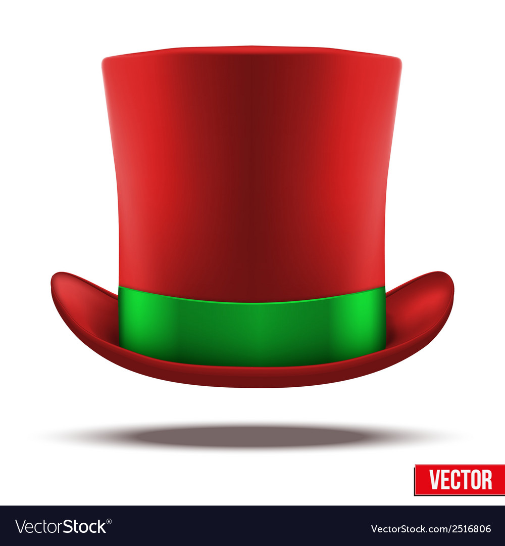 Red hat cylinder with green ribbon vector | Price: 1 Credit (USD $1)