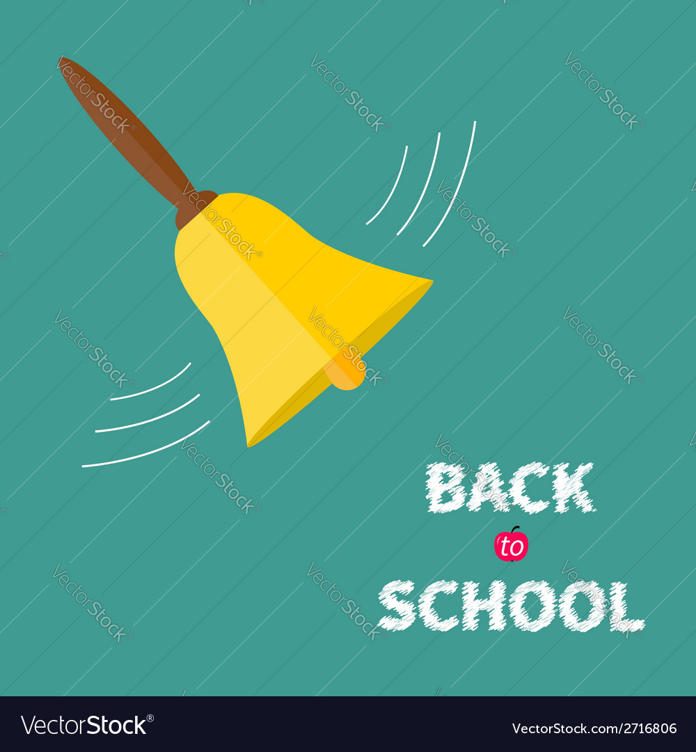 Ringing gold bell with handle back to school chalk vector | Price: 1 Credit (USD $1)