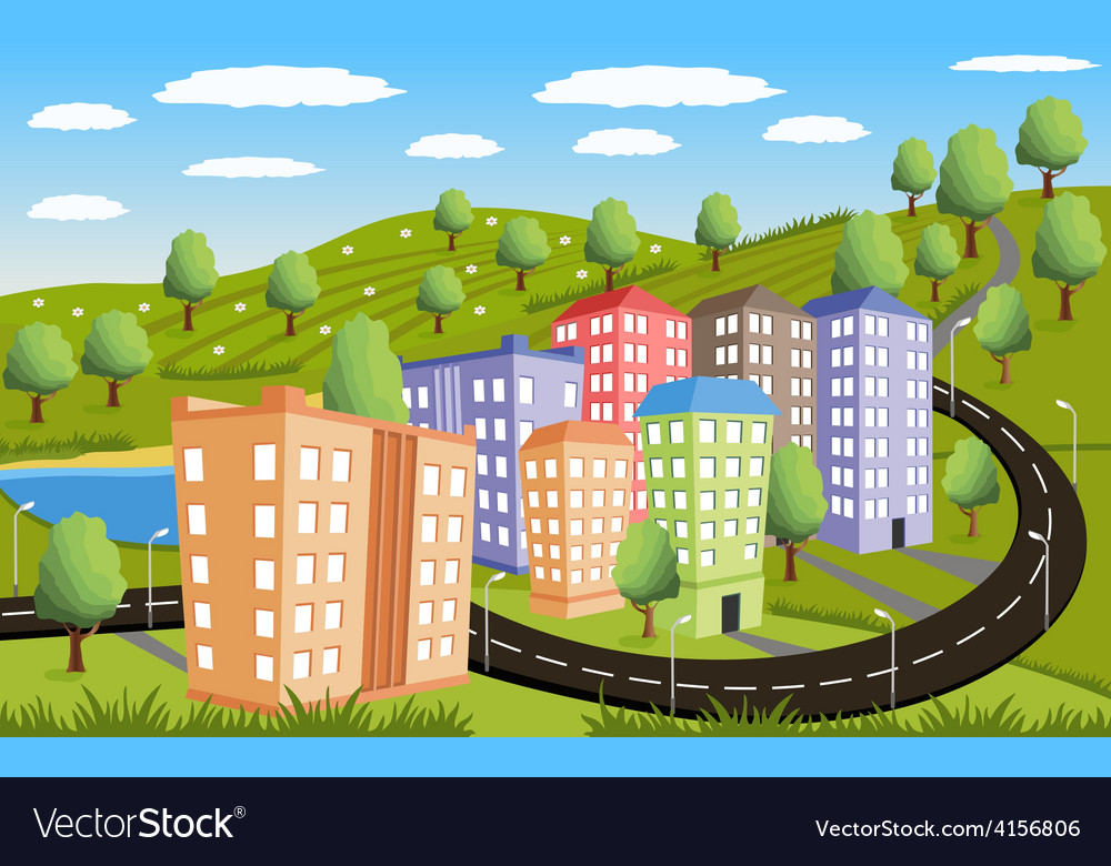 Rural landscape with small town vector | Price: 1 Credit (USD $1)