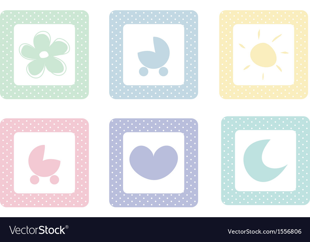 Sweet icons with polka dots isolated on white vector | Price: 1 Credit (USD $1)