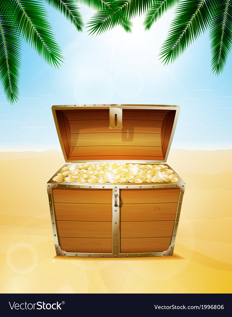 Treasure chest on a tropical beach vector | Price: 1 Credit (USD $1)