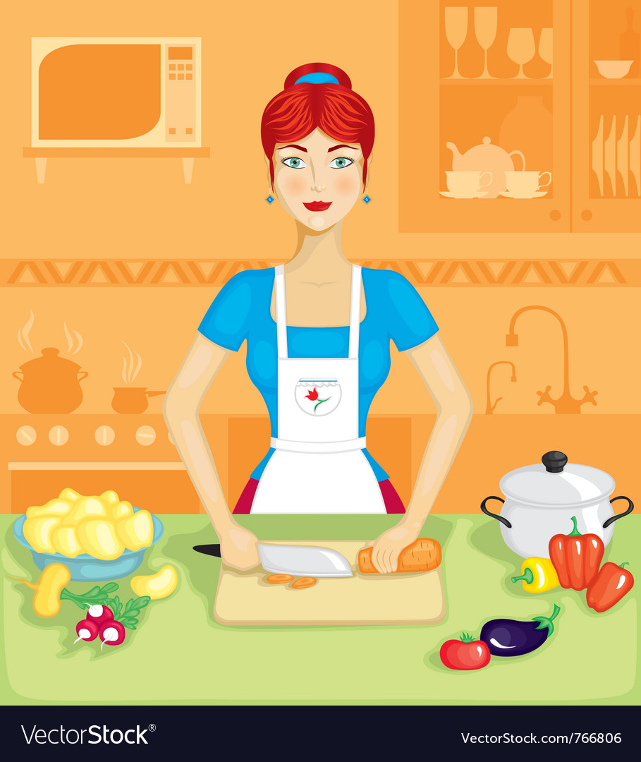 Woman in the kitchen vector | Price: 3 Credit (USD $3)