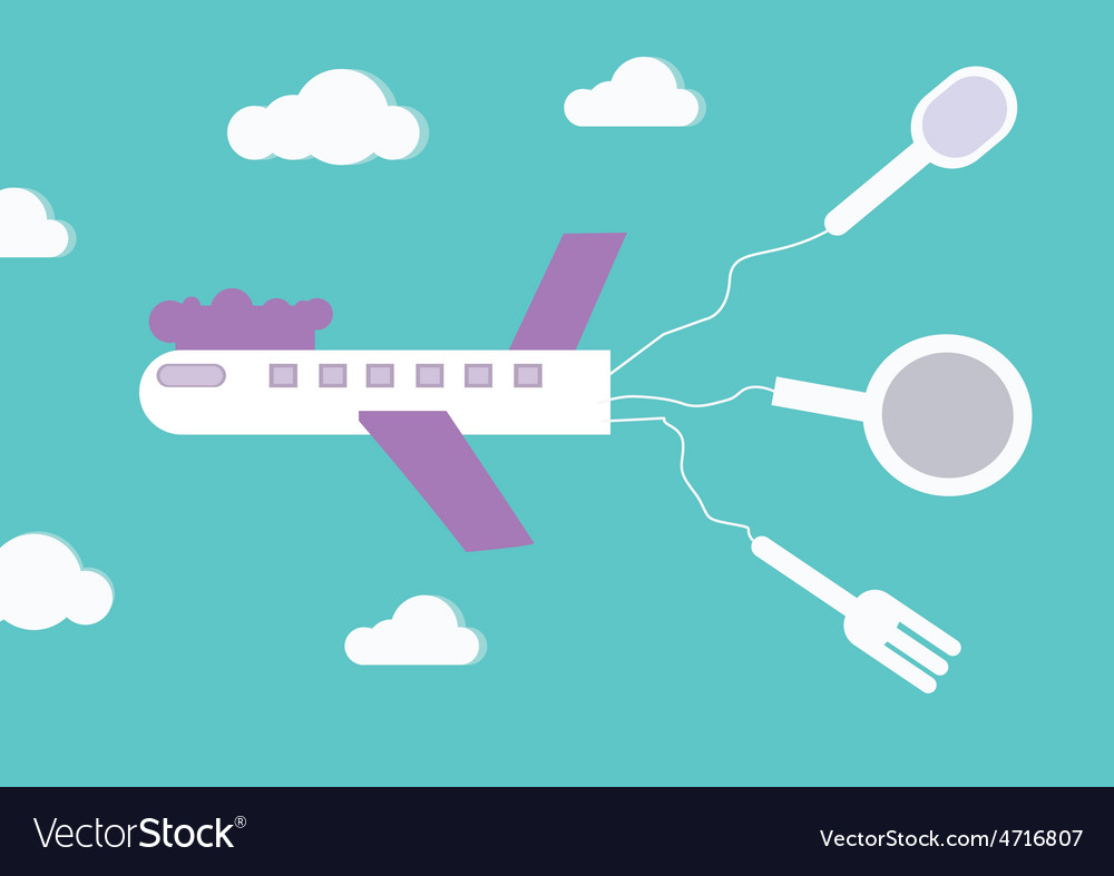 Airplane with kitchenware vector   Price: 1 Credit (USD $1)