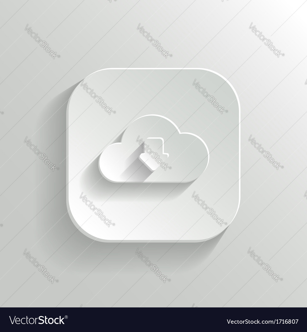 Cloud download icon - white app button vector | Price: 1 Credit (USD $1)