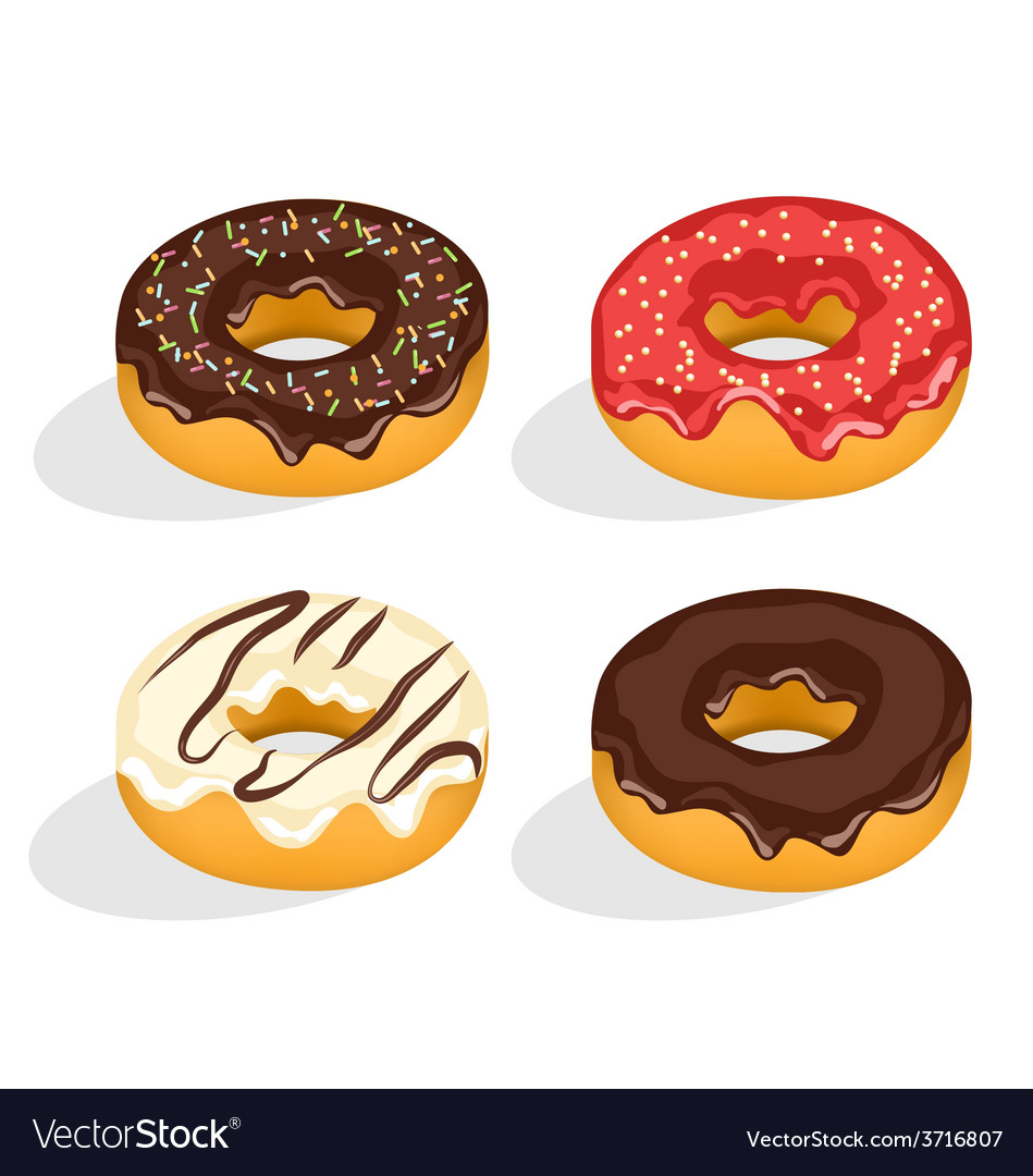 Four donuts with glazed isolated on white vector | Price: 1 Credit (USD $1)