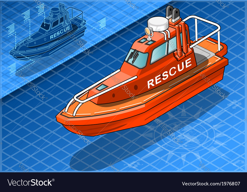 Isometric rescue boat isolated in front view vector | Price: 1 Credit (USD $1)