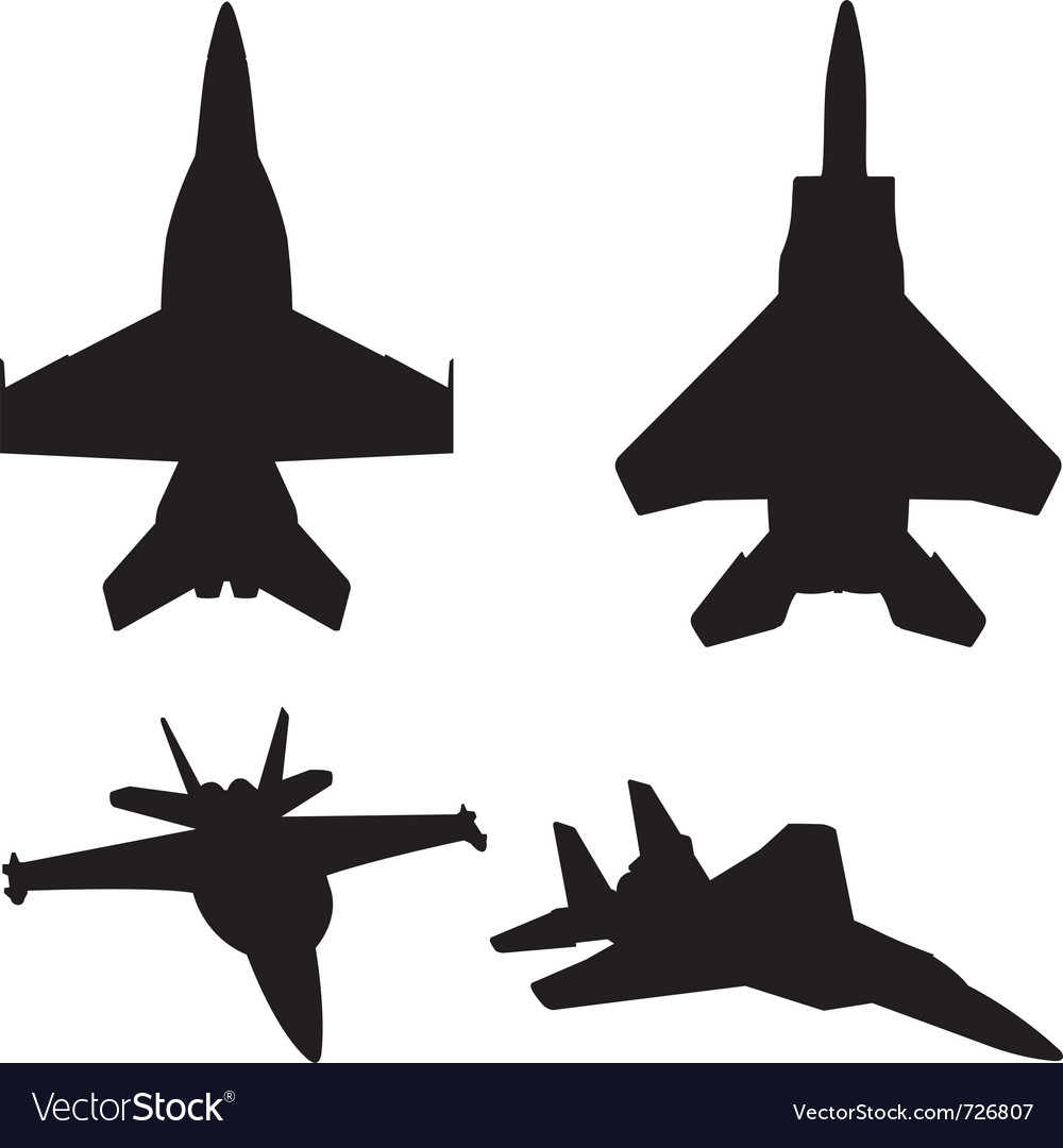 Jet fighter silhouettes vector | Price: 1 Credit (USD $1)