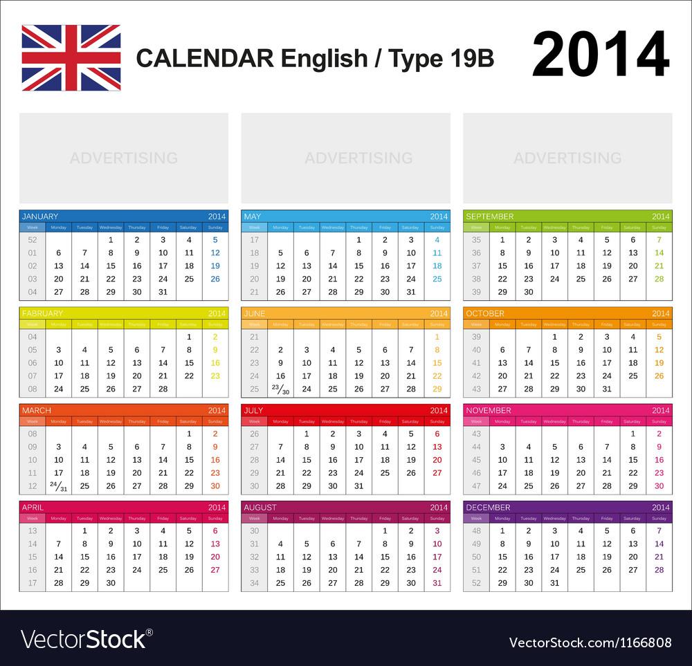 Calendar 2014 english type 19b vector | Price: 1 Credit (USD $1)