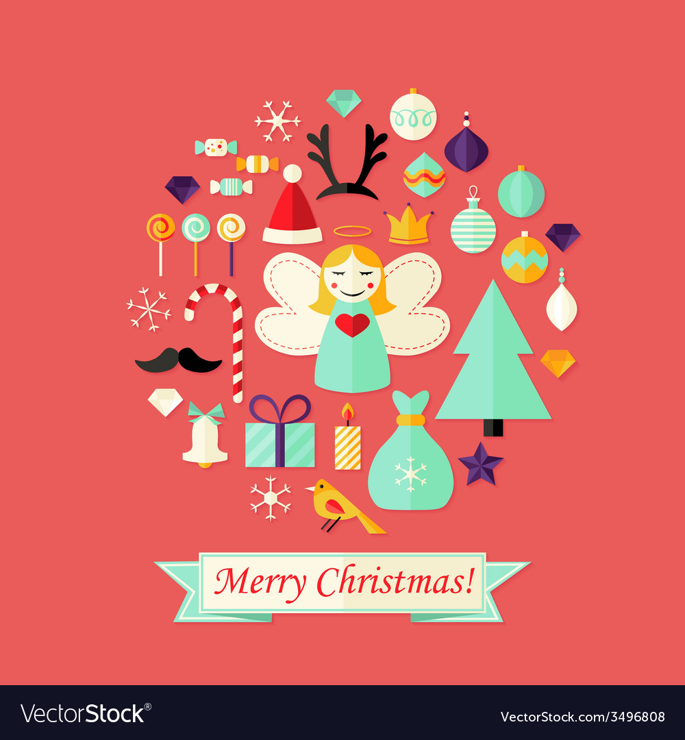 Christmas card with flat icons set and angel red vector   Price: 1 Credit (USD $1)