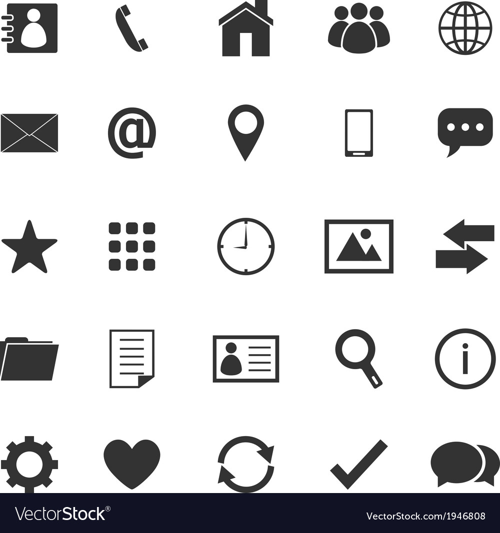 Contact icons on white background vector | Price: 1 Credit (USD $1)