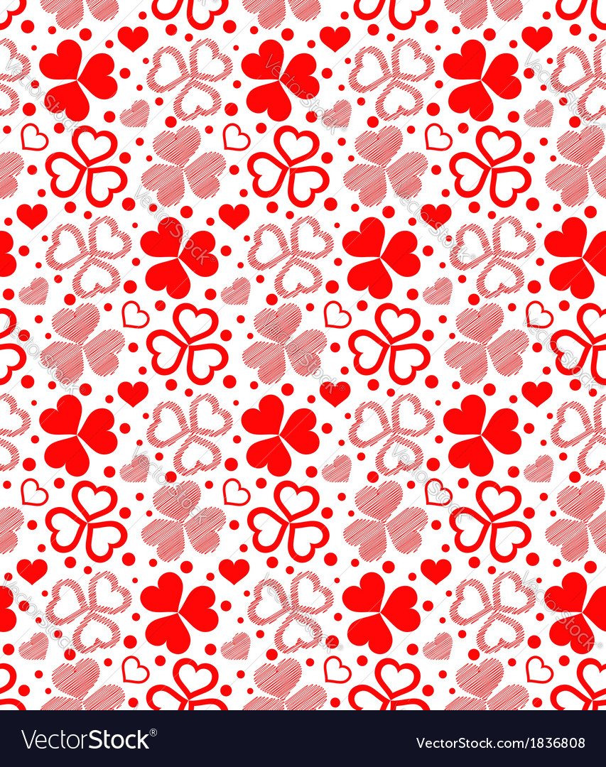 Floral seamless of red hearts vector | Price: 1 Credit (USD $1)