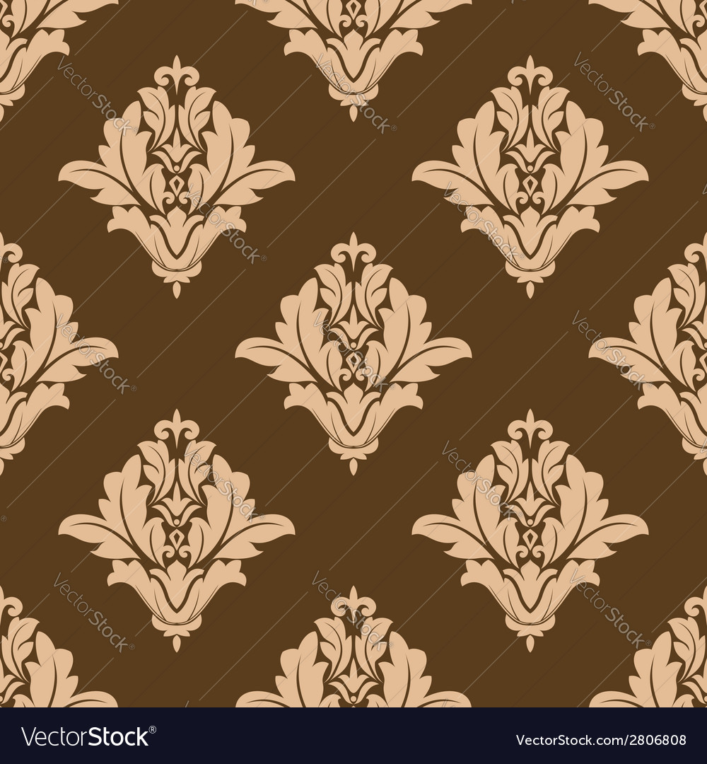 Floral seamless pattern with brown and beige vector | Price: 1 Credit (USD $1)