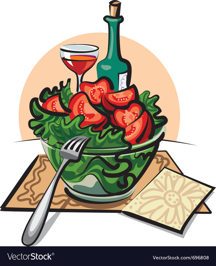 Fresh vegetable salad and wine vector | Price: 3 Credit (USD $3)