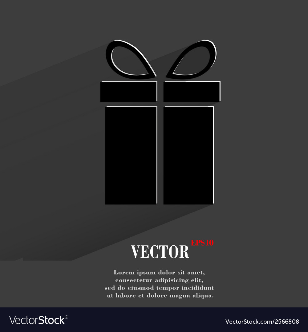 Gift web icon flat design vector | Price: 1 Credit (USD $1)